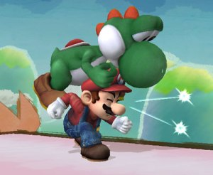 Yoshi showing Mario how it feels